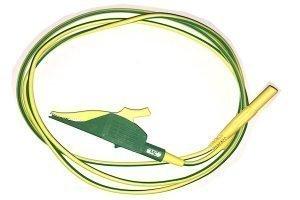 PV testing lead GND crocodile clip - banana, yellow/green